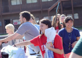 Student leaders help with the freshmen move-in process.